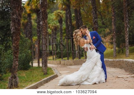 Beautiful wedding couple, happy bride and groom in nature.