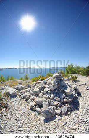 Dry Landscape With Sea And Islands, Croatia Dalmatia