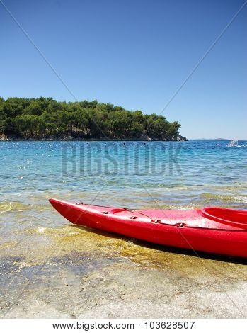 Kayak On The Shore Of The Turquoise Sea, Croatia Dalmatia
