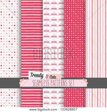 Set of white and pink dotted stripes and chevron seamless patterns
