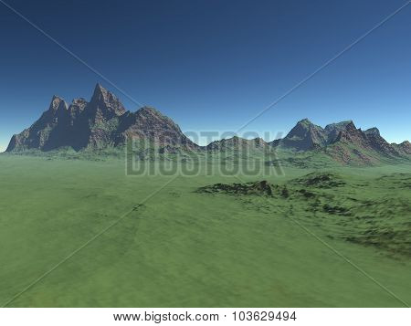 High green hill with mountains