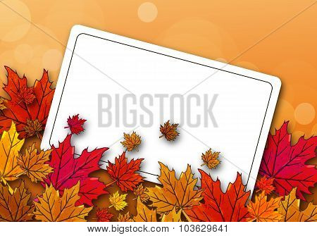 Autumn Maple Leaves On A Postcard