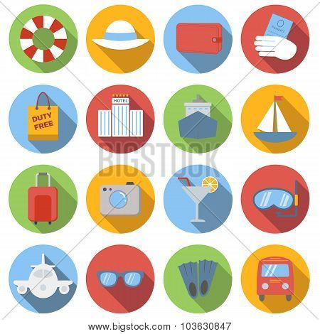 Travel icons colored set