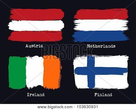 European Grunge Flags. Flags Of Austria, Netherland, Finland And Ireland