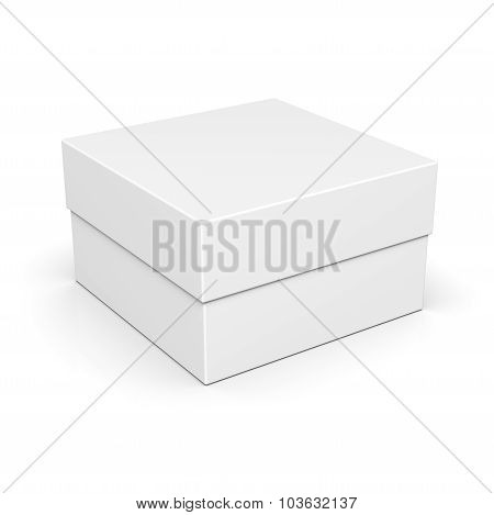 Closed Paper Square Box On White