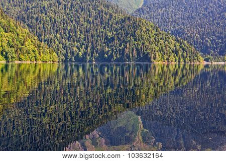 Scenery view of colorful mountain lake with crystal water and beautful reflections