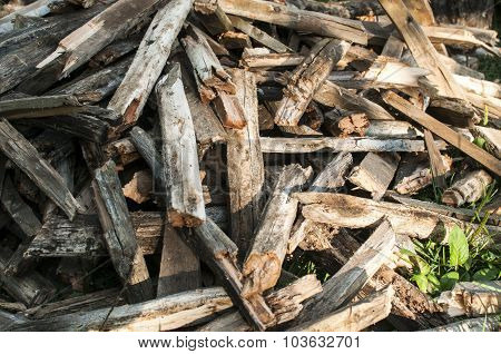 Pile of weathered firewood