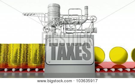 Taxes Concept With Money Machine