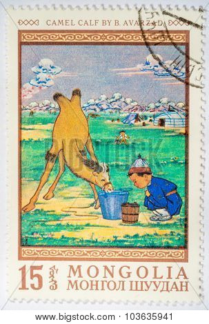 Moscow, Russia - October 3, 2015: Stamp Printed By Mongolia, Shows Camel Calf, By B. Avarzad, Circa