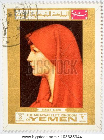 Moscow, Russia - October 3, 2015: A Stamp Printed In Yemen Shows The Painting Of Saint Fabiola By Je
