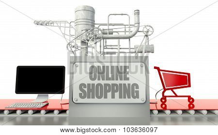 Online Payment Concept, Computer And Shopping Cart