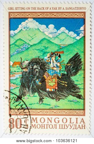 Moscow, Russia - October 3, 2015: A Stamp Printed In Mongolia Shows A. Sengetsohio