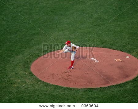 Phillies Joe Blanton Lifts Back Leg As He Finishes Throwing A Pitch