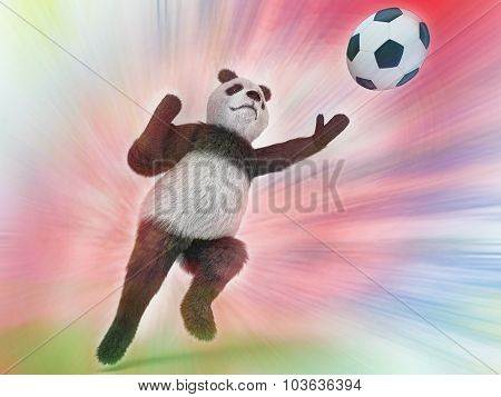 Wild Panda Goalie In The Rapid Jump Trying To Catch A Soccer Ball On A Colorful Watercolor Backgroun