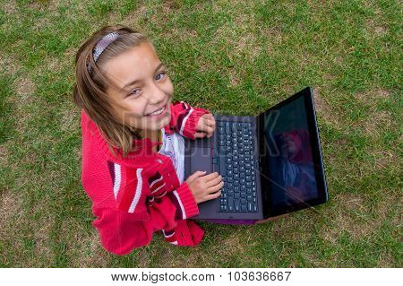 Happy Girl With Laptop Study Outside Smiling