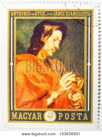Hungary - Circa 1969: A Stamp Printed In Hungary Shows The Picture Of St. Johannes Evangelist, By An