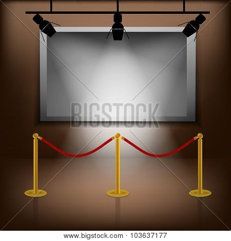 Interior With White Picture Frame And Bench Vector Illustration Eps 10