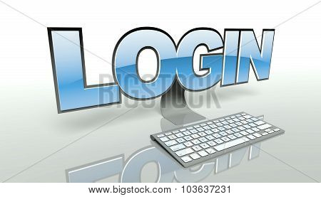 Login Concept, Computer And Network