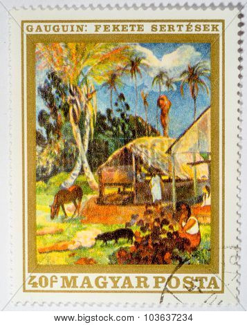 Hungary - Circa 1969: Stamp Printed By Hungary, Shows Black Pigs, By Paul Gauguin, Circa 1969