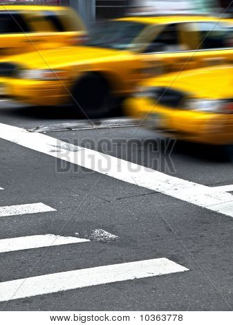 Motion Yellow Cabs In Manhattan
