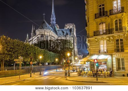 The Cafe Near Cathedral Notre Dame, Paris, France.