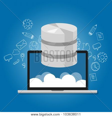 database data in the cloud network multimedia storage symbol icon laptop
