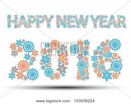 2016 Happy New Year Gear Blue