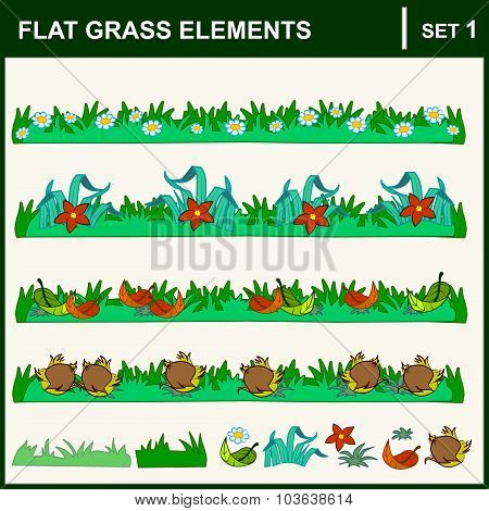 Set of nature elements: flowers grass leaf. Vector flat illustration.