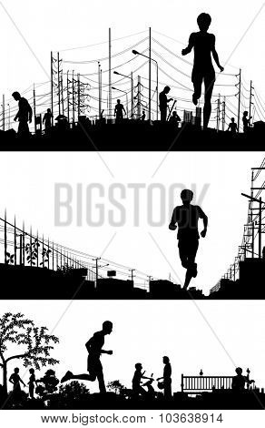 Set of EPS8 editable vector silhouette foregrounds of joggers running with all figures as separate objects
