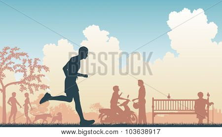 EPS8 editable vector illustration of a jogger running through an urban park