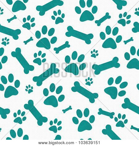 Teal  And White Dog Paw Prints And Bones Tile Pattern Repeat Background