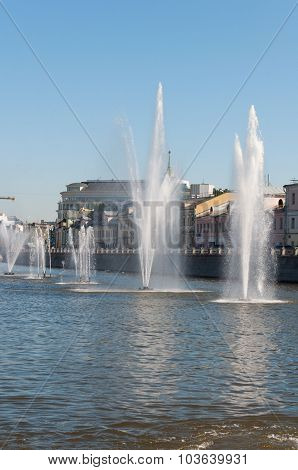 Moscow, Russia - 09.21.2015. Fountains on Moscow river drainage channels