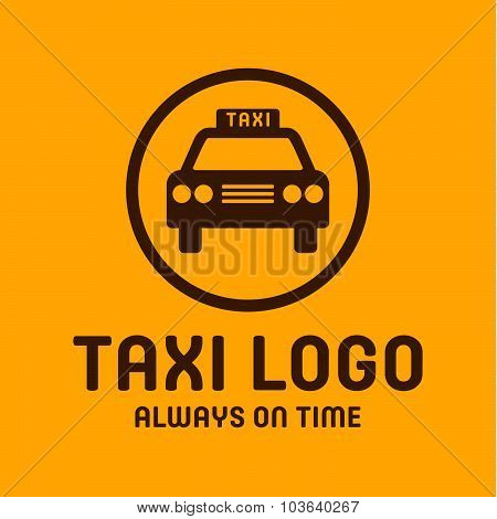 Taxi yellow logo icon style trend vector car sign, illustration