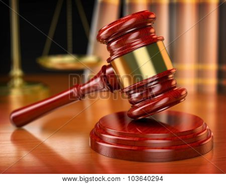 3D Gavel. Law Concept