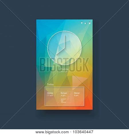 Mobile ui template with clock and calendar on colorful low poly background. White line icons for sma