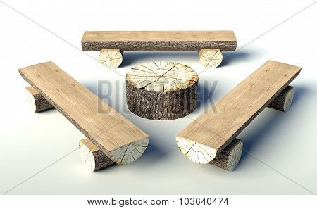 Wooden Bench And Table Made Of Tree Trunks
