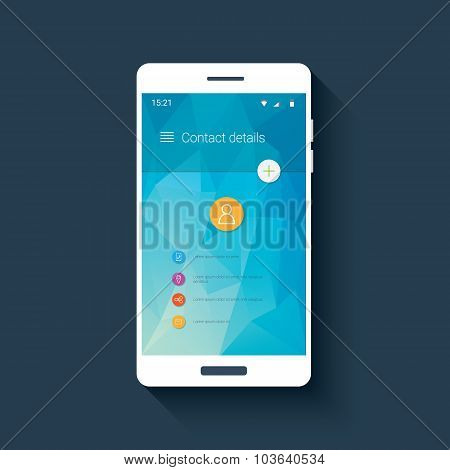 Mobile ui template with contact menu icon set on colorful low poly background. White line icons for