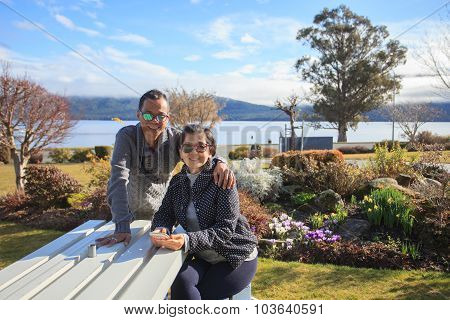Thai People Take A Photograph With Happiness Emotion At Te Anau Lake Fiord Land National Park South