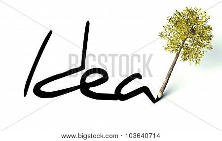 Idea Concept, Ecology Wooden Pencil Tree