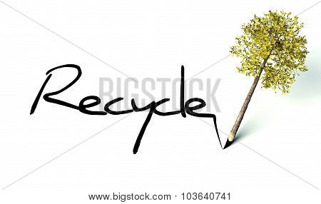 Recycle Concept, Ecology Wooden Pencil Tree