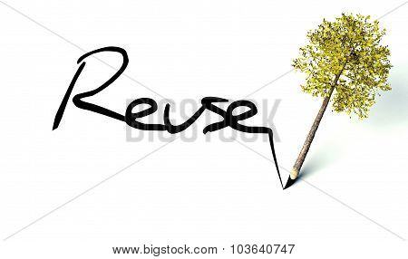 Reuse Concept, Ecology Wooden Pencil Tree