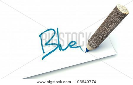 Blue Concept, Ecology Wooden Pencil Tree Trunk