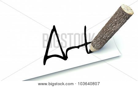 Art Concept, Ecology Wooden Pencil With Trunk
