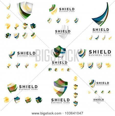 Set of company logotype branding designs, shield protection concept icons isolated on white