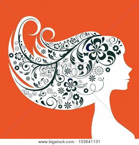 Elegant woman floral silhouette