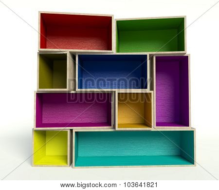 Open Colorful Wooden Boxes On Stack, Background