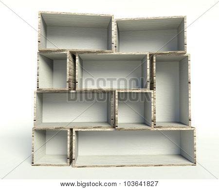Open Old Wooden Boxes On Stack, Background