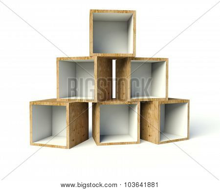 Open Wooden Boxes On Stack, Isolated On White