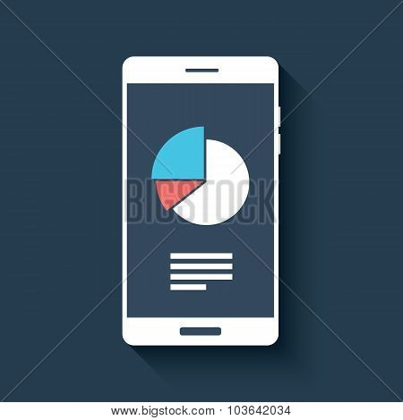 Smartphone with business graphs and charts symbol. Isolated mobile phone on dark background in flat