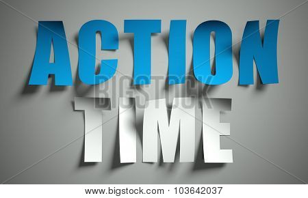 Action Time Cut From Paper On Background